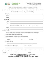 """""""Application for Dealer in Nursery Stock"""" - Ohio"""