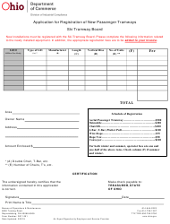 "Form DIC1001 ""Application for Registration of New Passenger Tramways"" - Ohio"