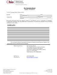 "Form DIC1002 ""Safety Complaint Form"" - Ohio"