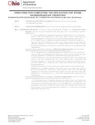 "Form DIC1022 ""Application for Steam Engineers/Boiler Operators Exam"" - Ohio"