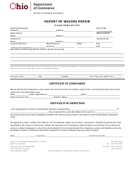 "Form DIC4302 ""Report of Welded Repair"" - Ohio"