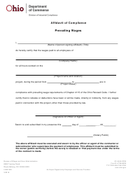 "Form LAW1003 ""Affidavit of Compliance Prevailing Wages"" - Ohio"