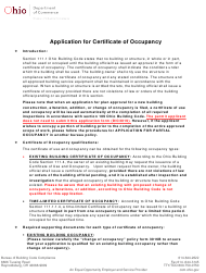 "Form DIC3019 ""Application for Certificate of Occupancy"" - Ohio"