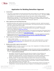"Form DIC3221 ""Application for Building Demolition Approval"" - Ohio"