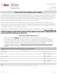 "Form COM3688 ""Real Estate Complaint Form"" - Ohio"