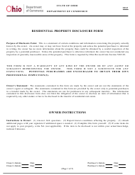 """""""Residential Property Disclosure Form"""" - Ohio, 2013"""
