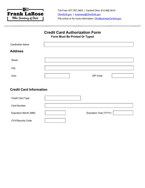 """Credit Card Authorization Form"" - Ohio Download Pdf"