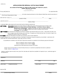 """Form AIS202 """"Application for Special Cattle Sale Permit"""" - Oklahoma"""