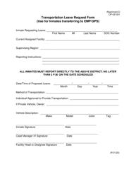 "Form OP-031001 Attachment D ""Transportation Leave Request Form"" - Oklahoma"