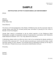 """Sample Form OP-040301 Attachment A """"Notification Letter to Dignitaries/Law Enforcement"""" - Oklahoma"""