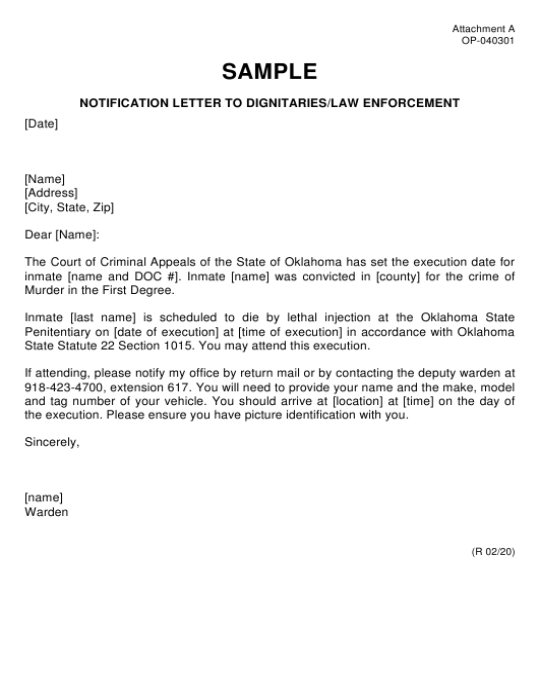 Form OP-040301 Attachment A  Printable Pdf