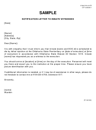 """Sample Form OP-040301 Attachment B """"Notification Letter to Inmate Witnesses (Sample)"""" - Oklahoma"""
