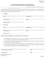 """Form OP-040301 Attachment C """"Release of Remains and Burial Arrangements"""" - Oklahoma"""