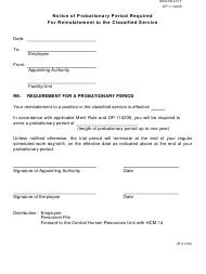 """Form OP-110235 Attachment F """"Notice of Probationary Period Required for Reinstatement to the Classified Service"""" - Oklahoma"""