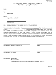 """Form OP-110235 Attachment G """"Notice of Six Month Trial Period Required for Inter-Agency Promotion"""" - Oklahoma"""