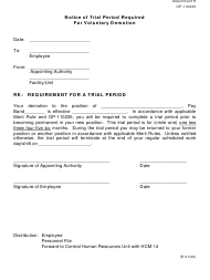 """Form OP-110235 Attachment H """"Notice of Trial Period Required for Voluntary Demotion"""" - Oklahoma"""