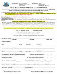 """Disability 5-year Fishing or Hunting License Application"" - Oklahoma"
