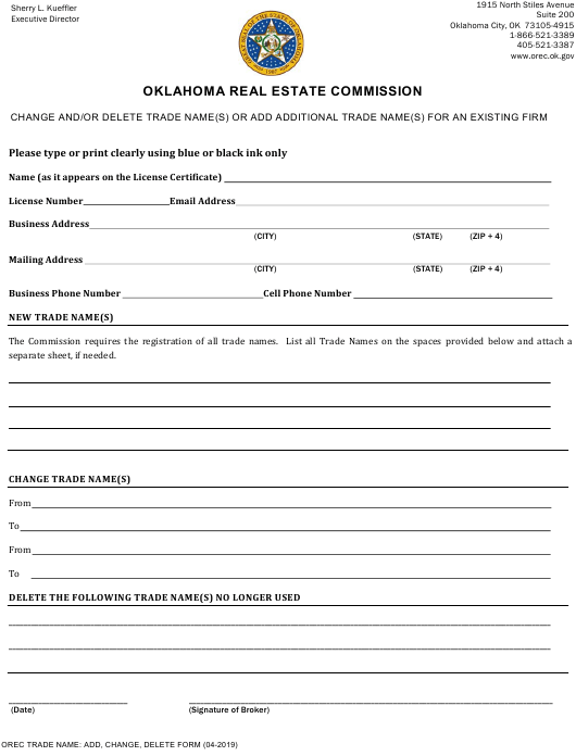 """""""Change and/or Delete Trade Name(S) or Add Additional Trade Name(S) for an Existing Firm"""" - Oklahoma Download Pdf"""