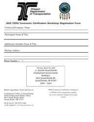 """TERO Contractor Certification Workshop Registration Form"" - Oregon, 2020"