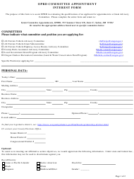 """""""Oprd Committee Appointment Interest Form"""" - Oregon"""