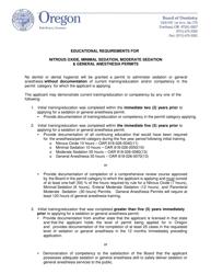 """Minimal Sedation Permit Application ' form"" - Oregon"