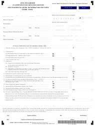 "Form 1100S ""S Corporation Reconciliation and Shareholders Information Return"" - Delaware, 2019"
