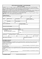 "AF Form 485 ""Application for Enlistment - Us Air Force Band"""