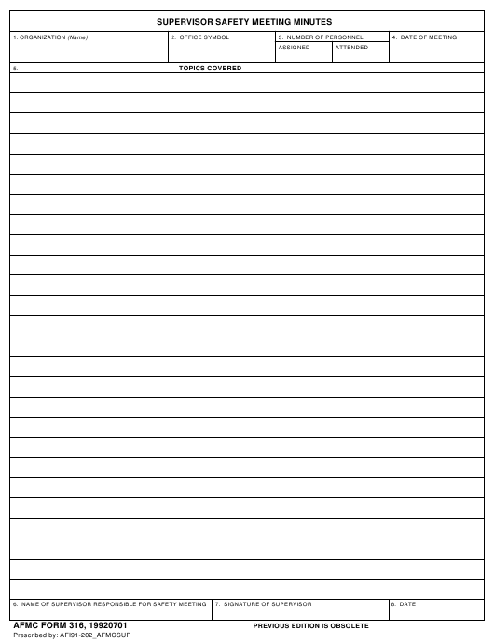 AFMC Form 316  Printable Pdf