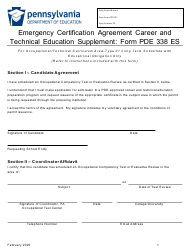 """Form PDE338 ES """"Emergency Certification Agreement Career and Technical Education Supplement"""" - Pennsylvania"""