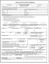 "Form PFBC-500 ""Application for Permit Special Activities"" - Pennsylvania"