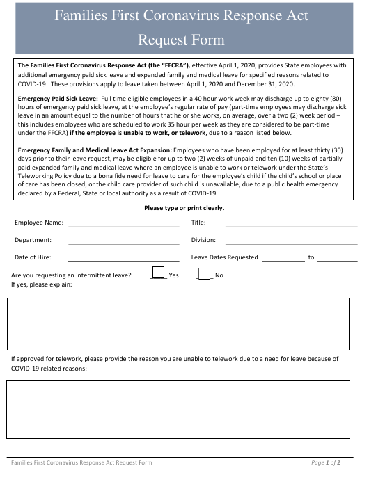 """""""Families First Coronavirus Response Act Request Form"""" - Rhode Island Download Pdf"""