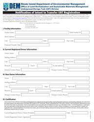 """Notification of Intent to Transfer Ust Registration"" - Rhode Island"