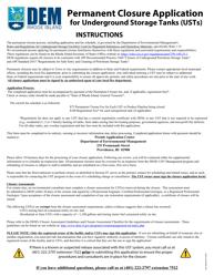"""""""Permanent Closure Application for Underground Storage Tanks"""" - Rhode Island"""