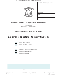 """Application for Electronic Nicotine-Delivery System"" - Rhode Island"