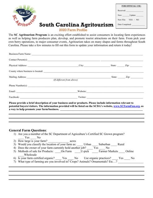 """South Carolina Agritourism Farm Profile"" - South Carolina Download Pdf"