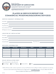 "CPD Form 309 ""Placed in Service Report for Commercial Weighing/Measuring Device(S)"" - South Carolina"