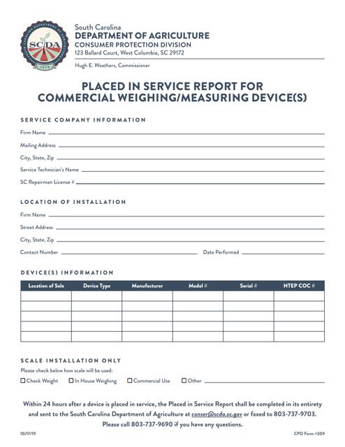 CPD Form 309  Printable Pdf