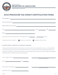 """Milk Producer Tax Credit Certification Form"" - South Carolina"