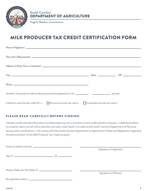 """Milk Producer Tax Credit Certification Form"" - South Carolina Download Pdf"