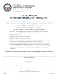 "CPD Form 204 ""South Carolina Antifreeze Registration Application"" - South Carolina"