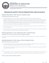 "CPD Form 804 ""Produce Safety Rule Exemption Application"" - South Carolina"
