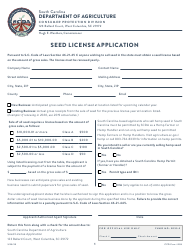 "CPD Form 205 ""Seed License Application"" - South Carolina"