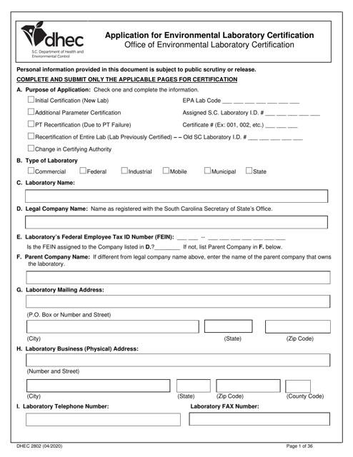 DHEC Form 2802 Printable Pdf