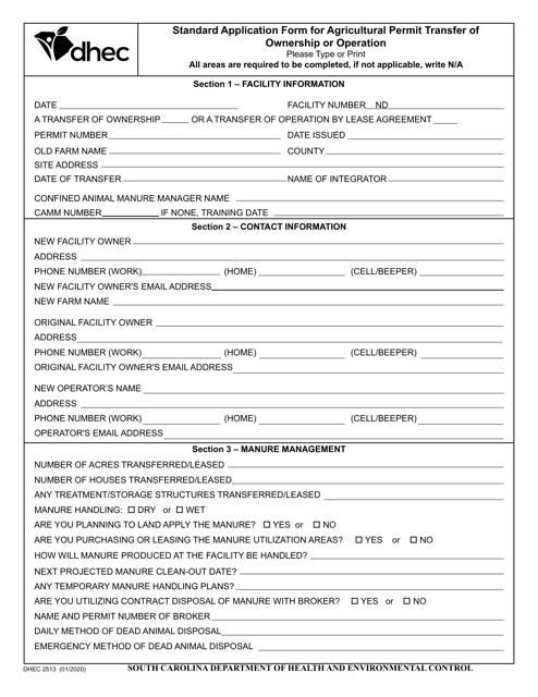 DHEC Form 2513 Printable Pdf