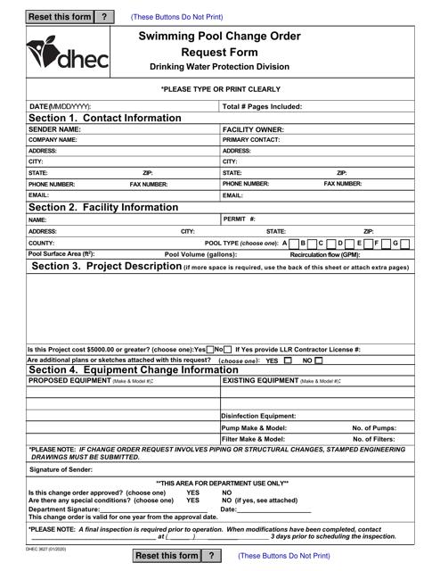 DHEC Form 3627 Printable Pdf