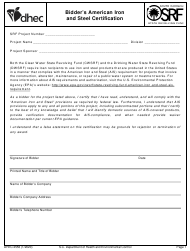 "DHEC Form 2556 ""Bidder's American Iron and Steel Certification"" - South Carolina"