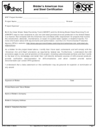 """DHEC Form 2556 """"Bidder's American Iron and Steel Certification"""" - South Carolina"""