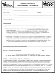 """DHEC Form 3591 """"Prime Contractor's Subagreement Certification"""" - South Carolina"""