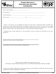"DHEC Form 0962 ""Project Sponsor's American Iron and Steel Certification"" - South Carolina"