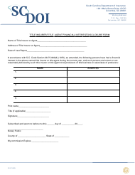 """Title Insurer/Title Agent Financial Interest Disclosure Form"" - South Carolina"
